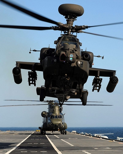 Army Air Corps Apache And RAF Chinook Helicopters Practice Deck Landingd Onboard HMS Illustrious