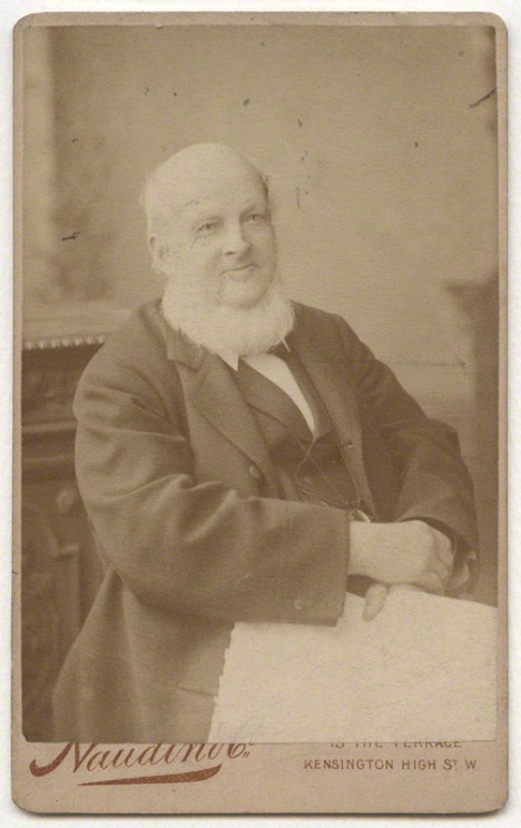 Alexander John Ellis, an outstanding philologist and a passionate advocate of spelling reform. (Portrait by William John Naudin; albumen carte-de-visite, 8 March 1886; CC BY-NC-ND 3.0; © National Portrait Gallery, London)