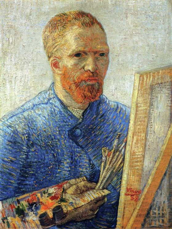 Paint brushes put to good use. (Self Portrait as an Artist. Vincent van Gogh. 1888. Public domain via Wikiart.org)