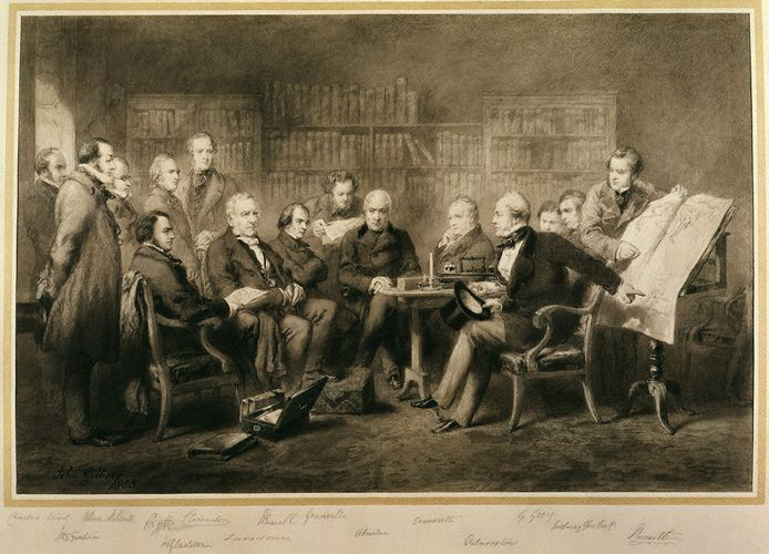 The coalition (Aberdeen ministry) of 1854 as painted by Sir John Gilbert (1855) via Wikimedia Commons (public domain).