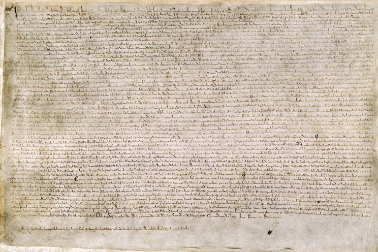 The Magna Carta (originally known as the Charter of Liberties) of 1215. British Library. Cotton MS Augustus II 106. Public domain via Wikimedia Commons.