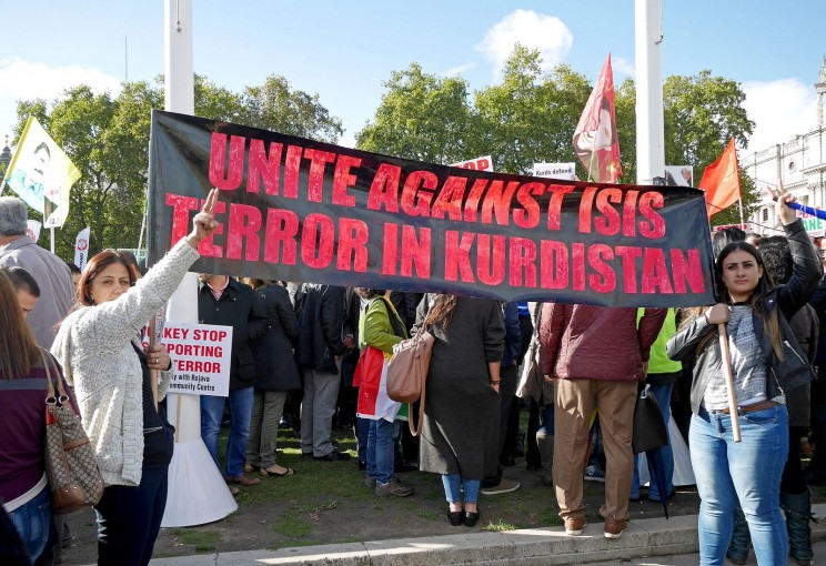 Kurdish protest against ISIS, by Alan Denney. CC-BY-NC-SA-2.0 via Flickr.