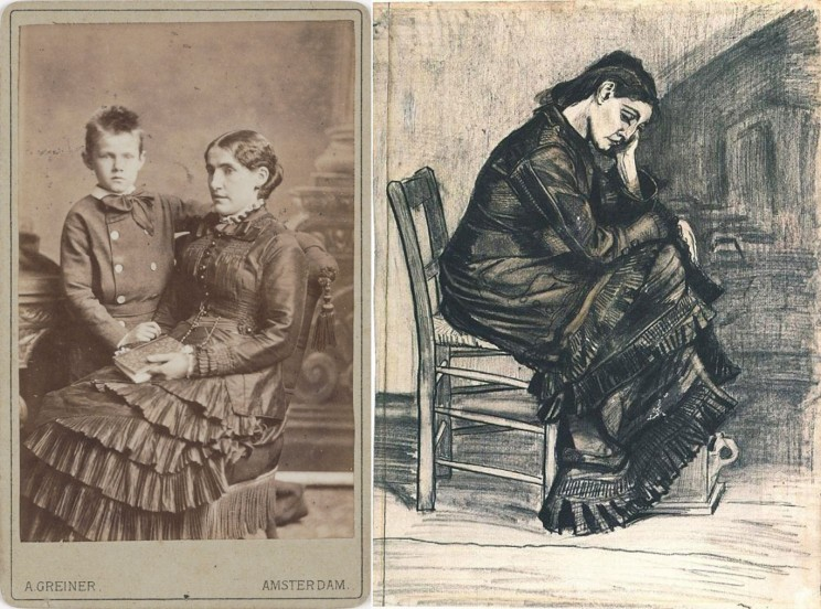 Photo of Kee vos Stricker with her son, c. 1879/1880 by Albert Greiner; and Woman Seated (1882), public domain via Wikimedia Commons.