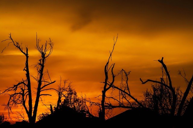 Sunset after a tornado in Oklahoma.