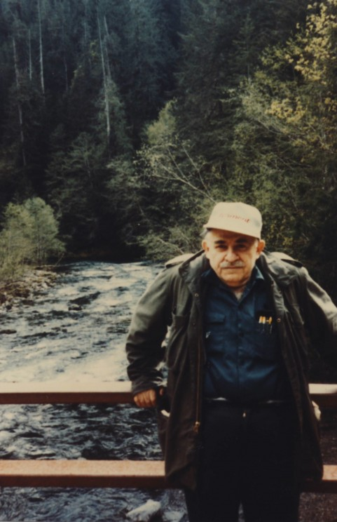 Murray Bookchin poses in 1988 in the Pacific Northwest. Image Credit: Janet Biehl.