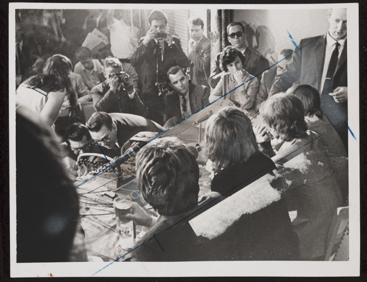 Beatles press conference, Friday evening, Hotel Warwick, 6th Ave. & W. 54th St. / World Telegram & Sun photo by Stanley Wolfson. August 1965. Library of Congress.