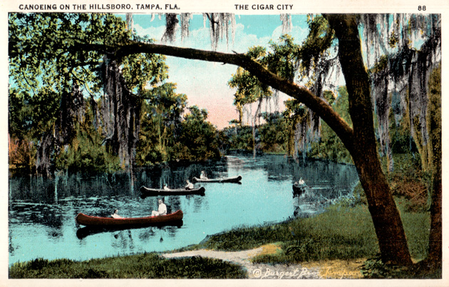 """""""Canoeing on the Hillsboro (sic), Tampa, Fla. The Cigar City."""" Courtesy of the Matheson History Museum."""