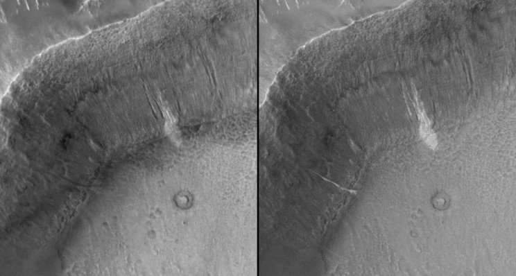 Gullies on Mars, on the inner slope of a crater wall, seen by the Mars Orbiter Camera. Left August 1999. Right September 2005. Each view is about 2 km across. A gulley just left of centre appears to have flowed between the two dates, resulting in the appearance of a new bright deposit. Image credit: NASA/JPL/Malin Space Science Systems