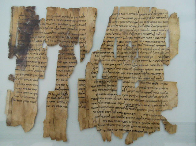 "The so-called ""Dead Sea Scrolls"" are a set of ancient Jewish/Biblical documents discovered on the northwest shore of the Dead Sea between 1946 and 1956.  Most are in Israel today, but this (and others) are in Jordan since borders have shifted over the years.  Written in Hebrew, Aramaic and Greek, mostly on parchment, but with some written on papyrus and even copper, these manuscripts generally date between 150 BC and 70 AD.  Many scholars believe therw were buried just before the Romans put down the ""Jewish rebellion"" that ran from about 67 to 73 AD.  The scrolls are traditionally identified with the ancient Jewish sect called the Essenes, but scholars debate that.  In fact, many of the scrolls were declared ""state secrets"" when they were found.  It is sort of strange to think that something written over 2,000 years ago could still represent a national security risk today."