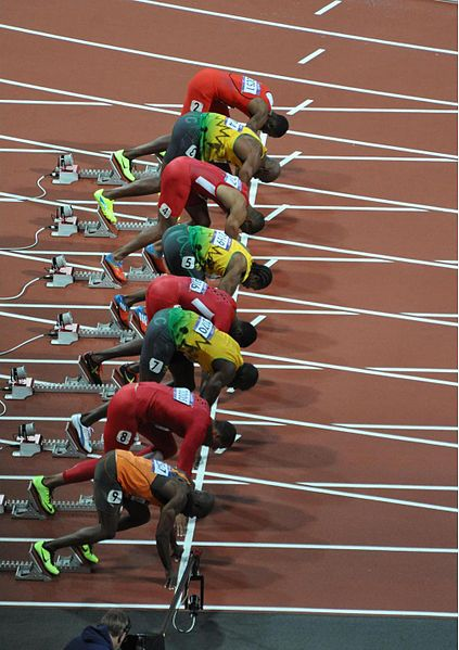 On Your Marks, 100m Final, 2012 Olympics, by Darren Wilkinson. CC-BY-SA-2.0 via Wikimedia Commons.