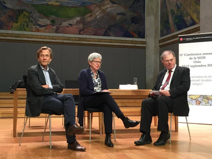 Keynote Panel: A Turn to the Rule of Law in International Politics: The Role of the International Judiciary with Martti Koskenniemi and Judge James Crawford moderated by Jutta Brunnée via @carlos_dem