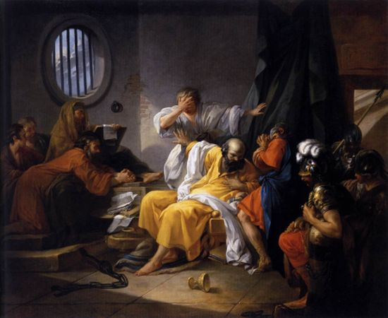 The Death of Socrates by Jacques-Philip-Joseph de Saint-Quentin, 1762. Public domain via Wikimedia Commons.