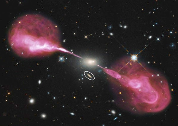 Hercules. A radio galaxy hosted in a massive elliptical galaxy. Radio emission, overplotted on the optical image, is shown in pink highlighting large jet-lobe structure. A Milky Way-sized spiral galaxy is marked by white ellipse. Image adapted from a Hubble Heritage Release. Credit: NASA, ESA, S. Baum and C. O'Dea (RIT), R. Perley and W. Cotton (NRAO/AUI/NSF), and the Hubble Heritage Team.