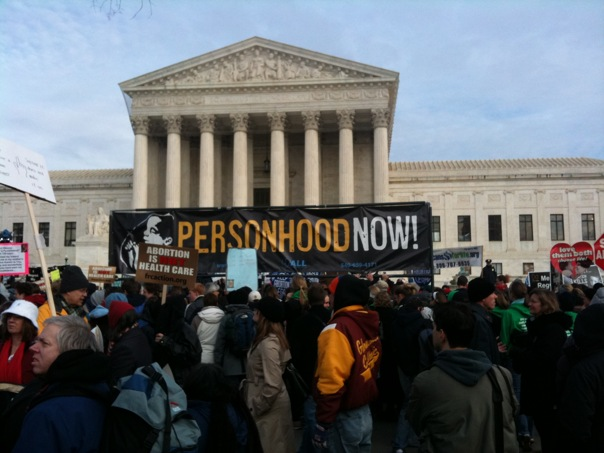 Protests against Roe v. Wade continue in the present day, as seen here by a photograph of the 2010 March for Life, which occurs on the anniversary of the Supreme Court ruling each year.
