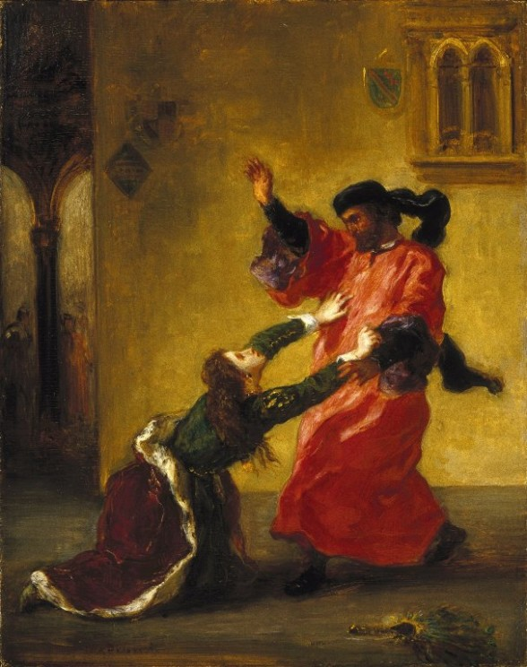 Desdemona Cursed by her Father by Eugène Delacroix. Brooklyn Museum. Public Domain via Wikimedia Commons