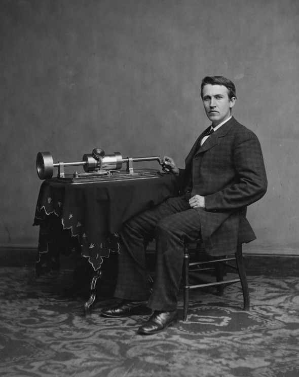 Thomas Edison and his early phonograph, 1878. Cropped from Library of Congress copy. Image Public Domain via Wikimedia Commons.
