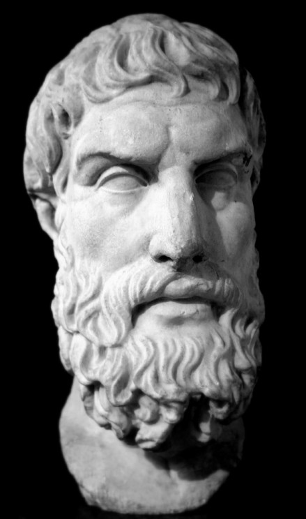 Marble bust of Epicurus. Roman copy of Greek original, 3rd century BC/2nd century BC. British Museum. Public domain via Wikimedia Commons.
