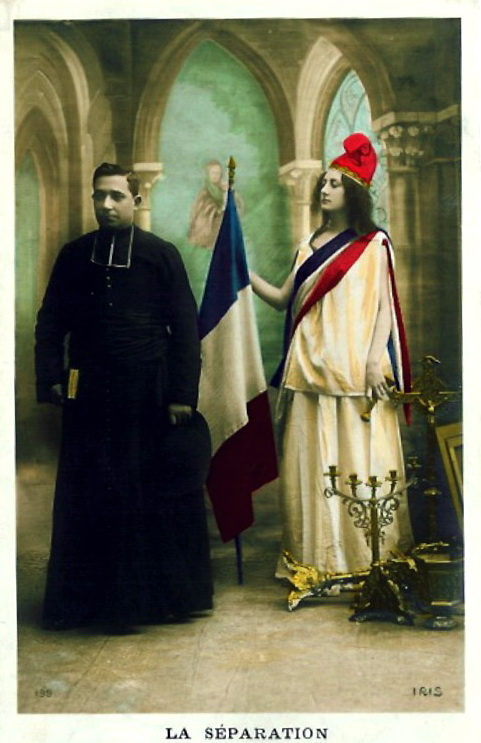 An allegorical photograph depicting of the 1905 French Law of Separation of Church and State. Public domain via Wikimedia Commons.