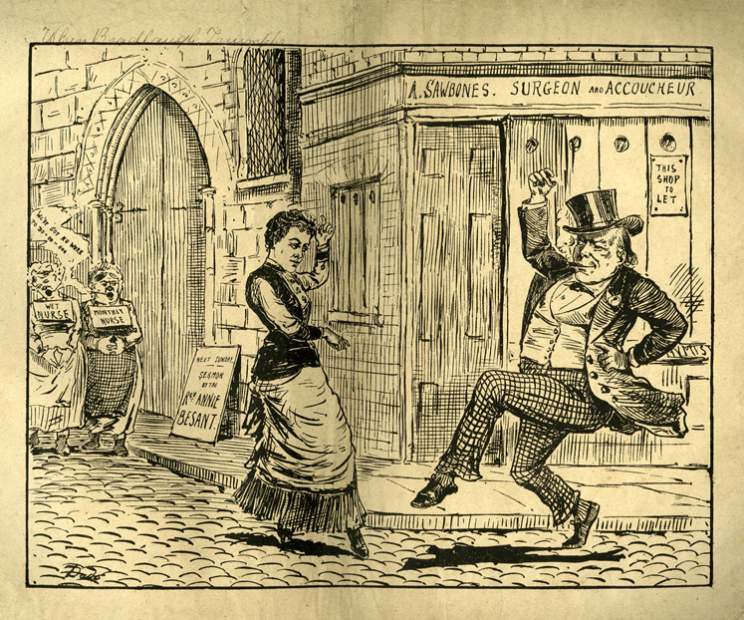 An illustration of the era's fluid relations: Annie Besant jigs mischievously alongside Charles Bradlaugh in 1888, with whom she campaigned for abortion rights. A mere two years later she had drifted away from the famous atheist--and the Fabian Society--in favour of a celebrated conversion to Theosophy. Courtesy Lilly Library, University of Indiana, Bloomington, Indiana