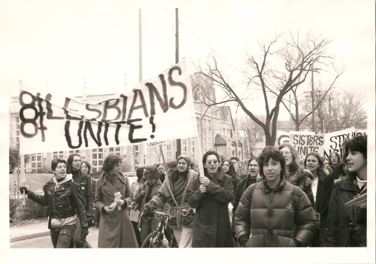 Madison Lesbians marching in the International Women's Day March in Madison, WI, March 1973