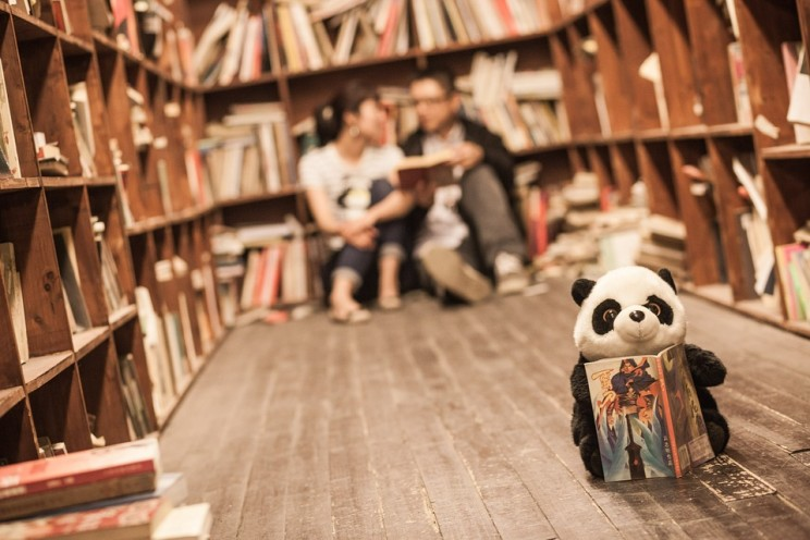 Library couple, and panda, by violey. CC0 public domain via Pixabay.
