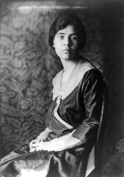 Alice Paul, American suffragette in 1918 by Library of Congress. Public domain via Wikimedia Commons.