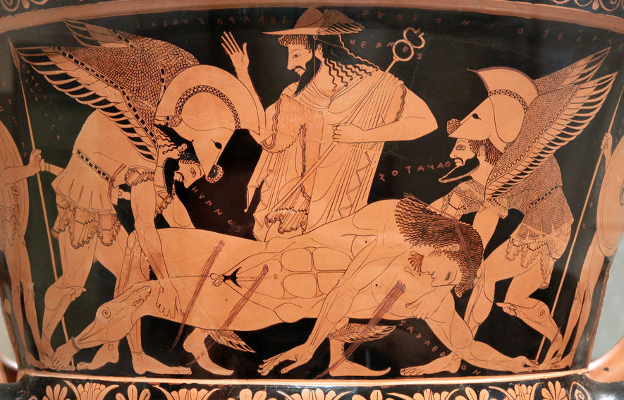 "Sarpedon's body carried by Hypnos and Thanatos (Sleep and Death), while Hermes watches. Side A of the so-called ""Euphronios krater"", Attic red-figured calyx-krater signed by Euxitheos (potter) and Euphronios (painter). Public domain via Wikimedia Commons."