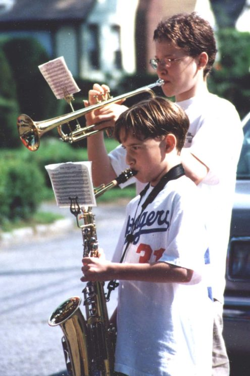The author's sons as youngsters, taking part in an informal neighborhood Fourth of July parade. Photo courtesy of the author.