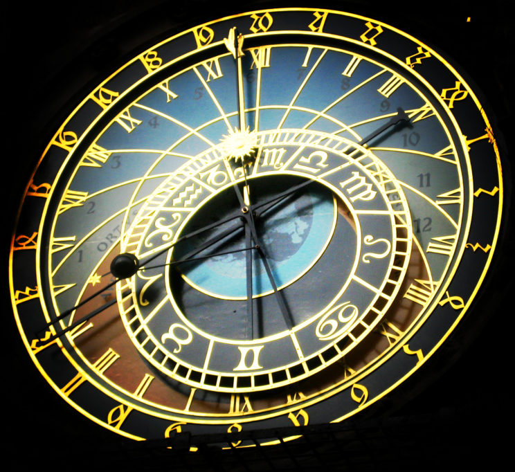 Astronomical Clock Face by Judith. CC BY 2.0 via Wikimedia Commons.