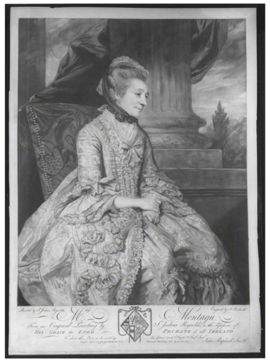Elizabeth Montagu, mezzotint engraving, John Raphael Smith, after Sir Joshua Reynolds, mezzotint, published 10 April 1776 (1775). Public Domain via Wikimedia Commons.