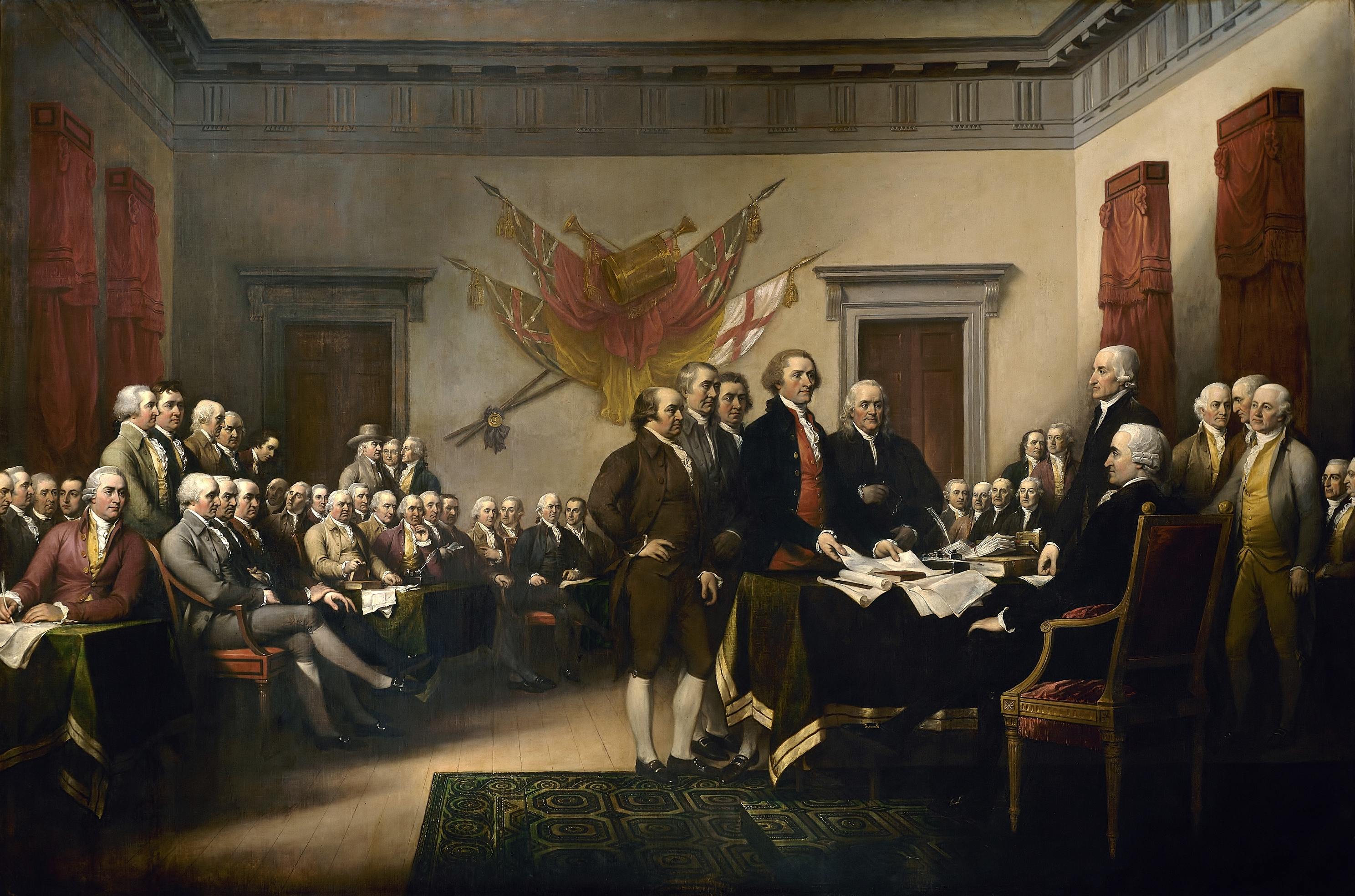 Declaration of Independence, a painting by John Trumbull depicting the Committee of Five presenting their draft of the Declaration of Independence to the Congress on June 28, 1776. Public Domain via Wikimedia Commons.