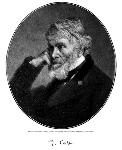 Engraving of Thomas Carlyle by Thomas Johnson, from an 1874 photograph (Century Magazine). Public domain via Wikimedia Commons.
