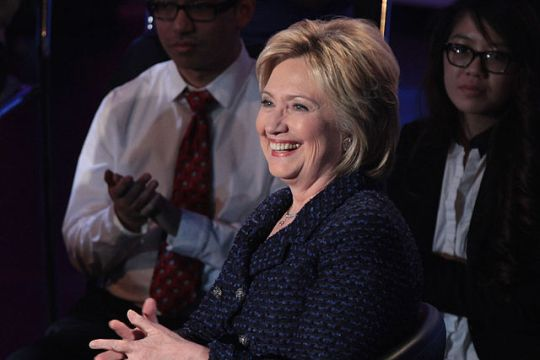 Hillary Clinton speaking at the Brown & Black Presidential Forum at Sheslow Auditorium at Drake University in Des Moines, Iowa, 11 January 2016. Photo by Gage Skidmore CC BY-SA 2.0 via Wikimedia Commons.