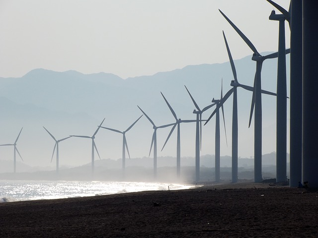 beach wind farm bangui by sonnydelrosario. Public domain via Pixabay.