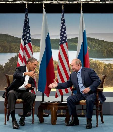 Barack Obama and Vladmir Putin shake hands at G8 summit, 2013 by Pete Souza, Public domain via Wikimedia Commons.
