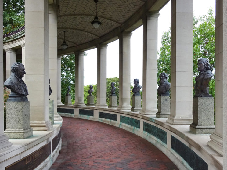 Part of the Hall of Fame of Great Americans in southern Bronx. On the left, there is the bust of Eli Whitney (by Chester A. Beach, 1926), the inventor of the cotton gin, to separate cotton fibers from their seeds. On the right, from the right, the busts of John James Audubon (by A. Stirling Calder, 1927), naturalist, ornithologist, and painter; Samuel F. B. Morse, inventor of the forerunner of the telegraph and the Morse code, and painter; Asa Gray (by Chester A. Beach, 1925), botanist and strong supporter of Charles Darwin; James B. Eads (by Charles A. Grafly, 1924), engineer who opened the Mississippi River for ships; Maria Mitchell (by Emma F. Brigham), educator and the first American woman astronomer; and Louis Agassiz (by Anna Hyatt Huntington, 1928), Swiss-born naturalist with interest in ichthyology and geological history. (Photo by the authors and used with permission.)