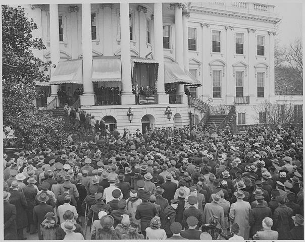 Photograph of President Franklin D. Roosevelt delivering his fourth Inaugural Address by Abbie Rowe, 1905-1967. Public domain via Wikimedia Commons.