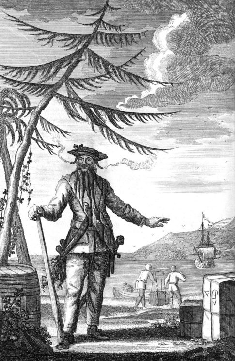 Engraving of Captain Teach, also known as Blackbeard the Pirate, 1736. Public Domain via Wikimedia Commons.