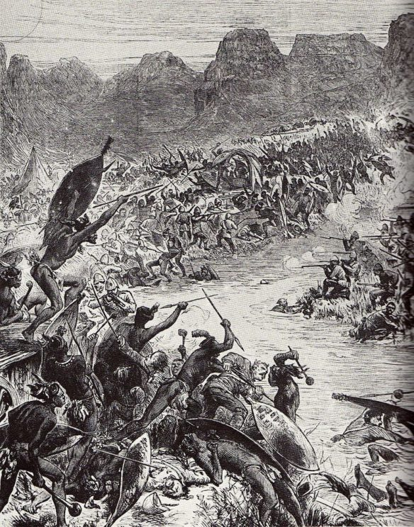 The Battle of Intombe, fought on 12 March 1879 between Zulu forces and British soldiers. Picture: The Illustrated London News, Public Domain via Wikimedia Commons.