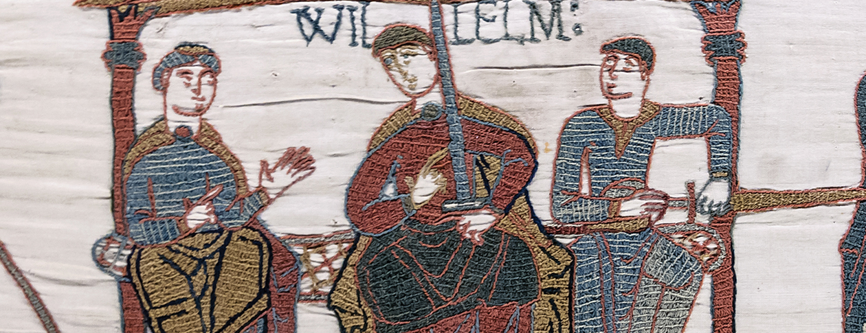 Bayeux Tapestry, Scene 44: Duke William and his two half-brothers: to his right, Bishop Odo of Bayeux and to his left, Count Robert of Mortain. Photo by Myrabella. Public domain via Wikimedia Commons.