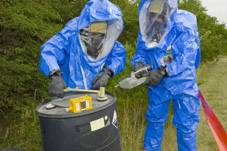 Testing suspected hazardous site for chemical and biological agents. USEPA Photo by Eric Vance