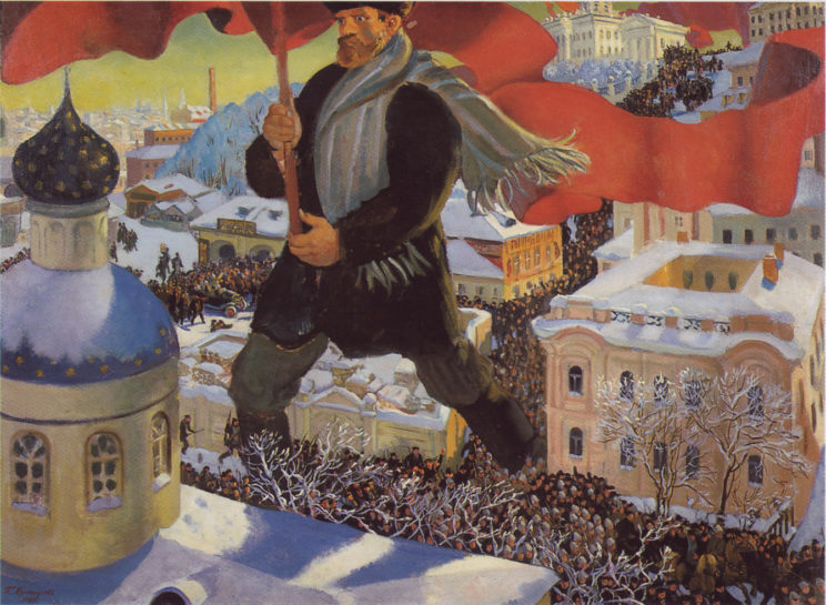 "The Bolshevik"" by Boris Kustodiev -- The Russian Avant-garde Gallery is in the public domain."