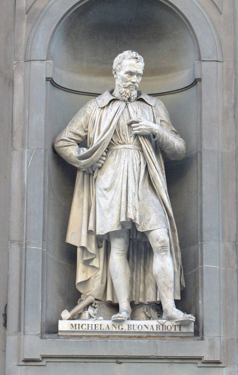 Statue of Michelangelo in Florence, Italy. Public Domain via Wikimedia Commons.