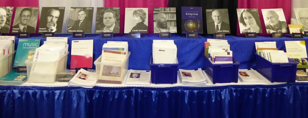 Row of books on the OUP stand at the ACDA National Convention 2017