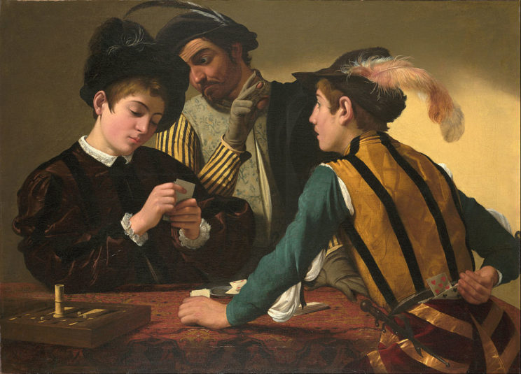 "Caravaggio's ""Cardsharps."" One of the players certainly has a trick up his sleeve."