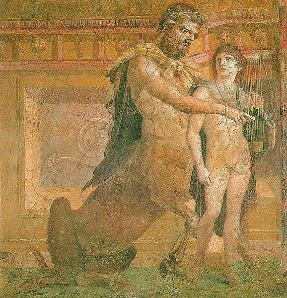 Chiron taking care of Zeus. Not many sleeves, but who would call the centaur's task a sleeveless errand!