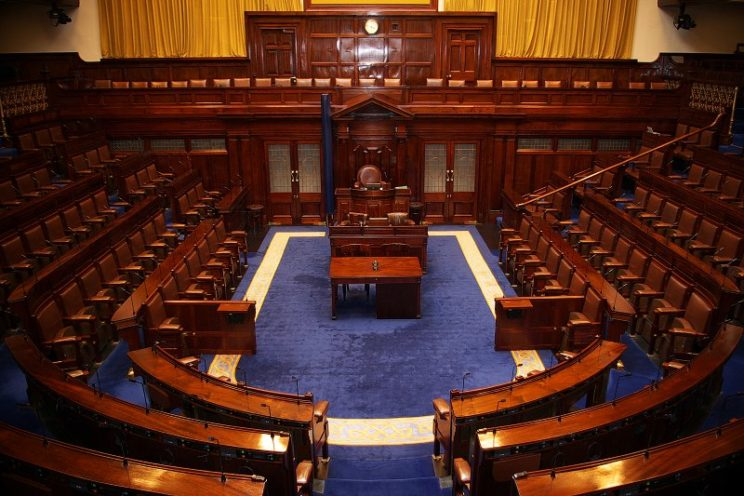 Dáil Chamber by Tommy Kavanagh. CC-BY-SA-3.0 via Wikimedia Commons.