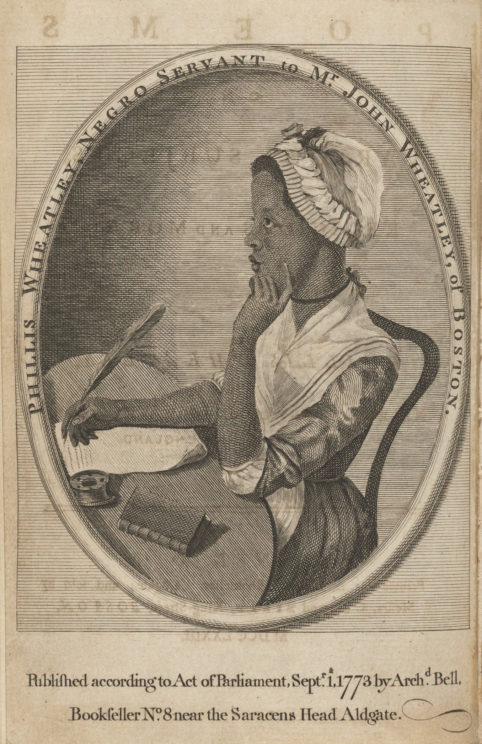 Phillis Wheatley portrait in her 1773 Poems on various subjects, religious and moral. Houghton Library at Harvard University, Public Domain via Wikimedia Commons.