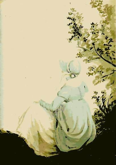 'Back view of Jane Austen, Watercolor', by Cassandra Austen (1804), Public Domain via Wikimedia Commons.