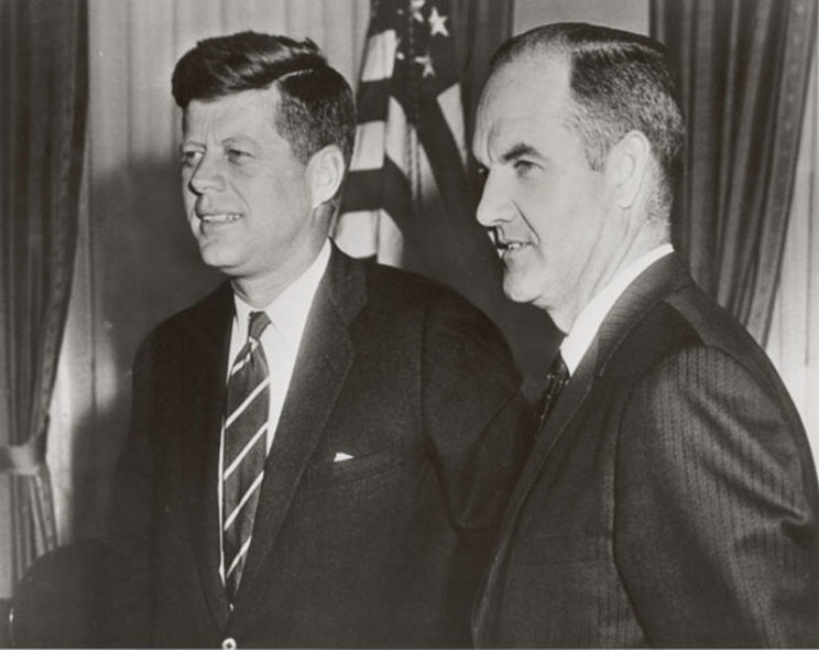 President Kennedy with George McGovern, Director, Food for Peace, 1961.